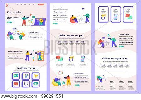 Call Center Flat Landing Page. Online Consultation, Customer Support Corporate Website Design. Web B
