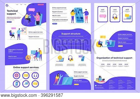 Technical Support Flat Landing Page. Online Consultation And Assistance Service Corporate Website De