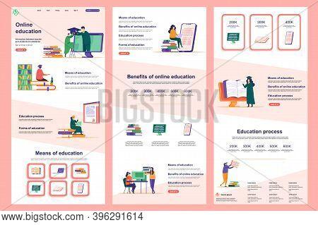 Distance Education Flat Landing Page. Online Learning Platform Corporate Website Design. Web Banner