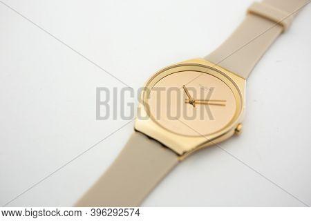 Rome, Italy 07.10.2020 - Swatch Fashion Swiss Made Quartz Watch On Stand Close Up. Stylish Trendy Wo