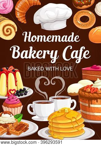 Bakery Cafe With Homemade Sweet Pastry Vector Desserts And Baked Food. Cake With Fruits, Pudding, Do