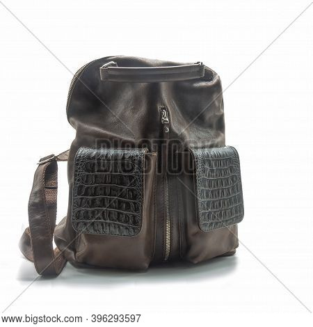 Women's Bag - A Backpack Made Of Genuine Brown Leather. The Handles Are Short And Long Back. Zip Fas