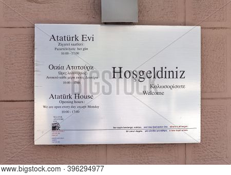 Thessaloniki, Greece - April 30, 2019: Signboard Of Ataturk House In Thessaloniki, Greece.