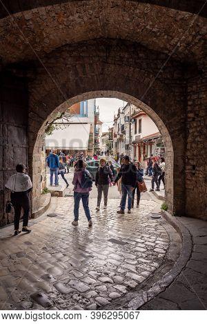 Ioannina, Greece - April 30, 2019: Tourists Walking Into The Main Entrance To Ioannina City's Mediev