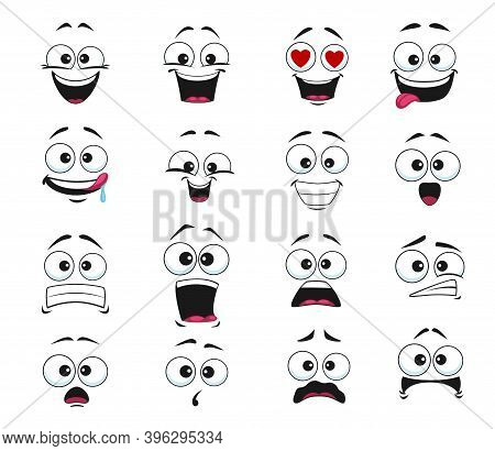 Cartoon Face Expression Isolated Vector Icons, Funny Emoji Fall In Love, Scared And Shocked Or Licki