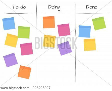Agile Planning - White Board With Blank Sticky Note Papers For Writing Task.