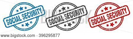 Social Security Stamp. Social Security Round Isolated Sign. Social Security Label Set