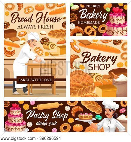 Bakery Shop Bread, Cakes Desserts And Sweet Pastry, Vector Patisserie Food. Baker In Bakery Shop Bak