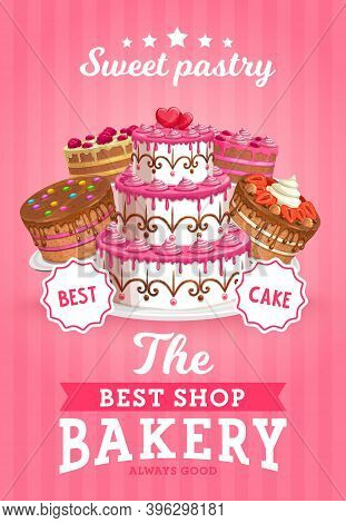 Cakes Shop Vector Bakery Promo, Sweet Confectionery Production Store, Pastry Bakery And Patisserie P