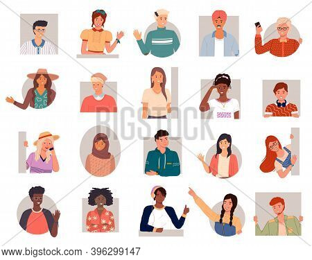 Set Of People Different Nationalities. People Greeting In Different Languages. Russian, Arabs, Europ
