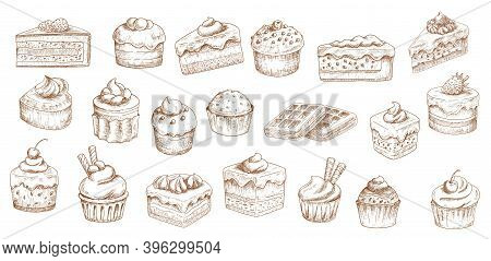 Cakes Sketch Icons, Pastry Desserts, Bakery Sweets, Vector Hand Drawn. Bakery And Pastry Shop Sweet