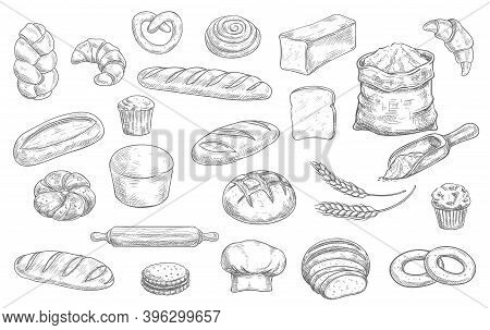 Bakery And Pastry Shop Products Sketch Vector Set. Wheat And Rye Bread, Loaf, Challah And Baguette,