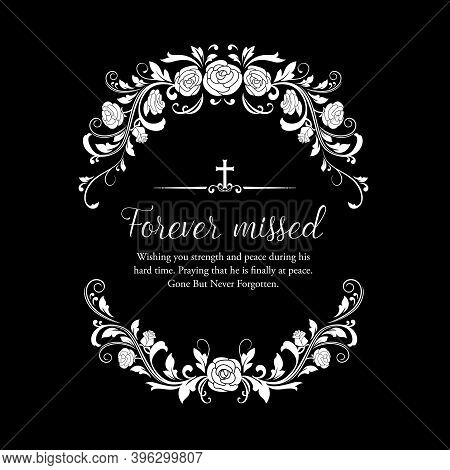 Funeral Vector Card With Rose Flowers Wreath And Cross. Funeral Mourning Retro Frame With Floral Dec