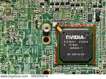 Atina,lazio,italy-march 06,2020:circuit Board With Gpu Chip Of Laptop Computer,macro Close-up,hdr Im