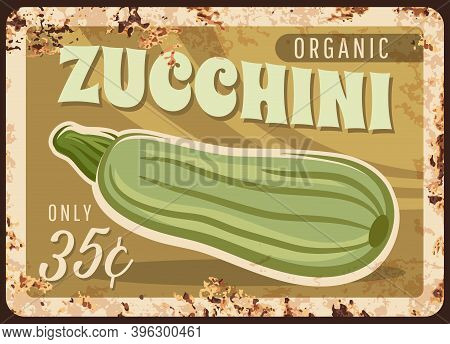 Zucchini Courgette Squash Metal Plate Rusty Price For Agriculture Vegetables And Salad Plants, Vecto