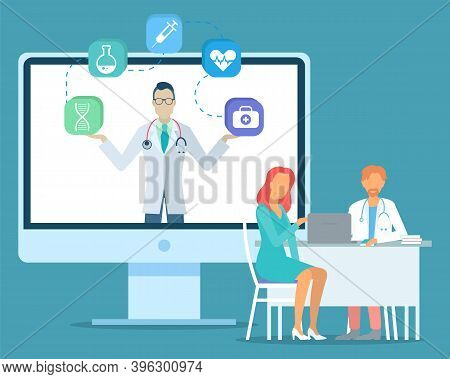Doctor Holding Web Icons At Screen Of Computer. Medicine Icons For Website Dna, Flask, Syringe, Hear