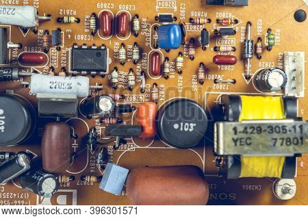 Atina,frosinone,lazio,italy-october 30,2020:electrical Components On Tv Circuit Board