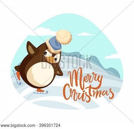 Merry Christmas Penguin Figure Skating Poster Vector. Fun Hobby Winter Holidays Celebration, Hills C