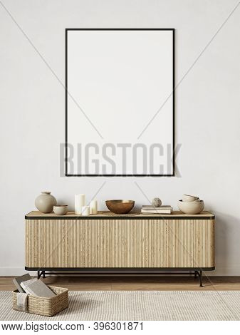 White Modern Interior With Dresser, Decor. 3d Render Illustration Background Mock Up.
