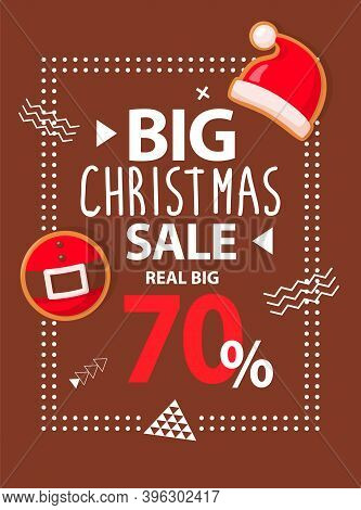 Brown Poster With Real Big Christmas Sale With Santa Hat And Belt. Holiday Brochure With Discount Ab