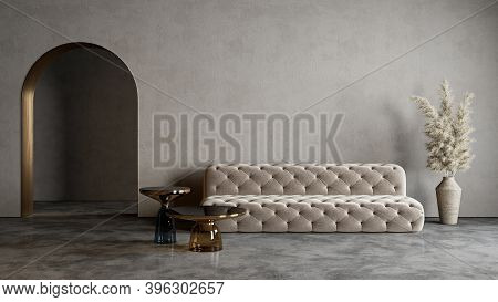Modern Minimalist Interior With Arch, Concrete Floor, Sofa, Coffe Table And Decor. 3d Render Illustr