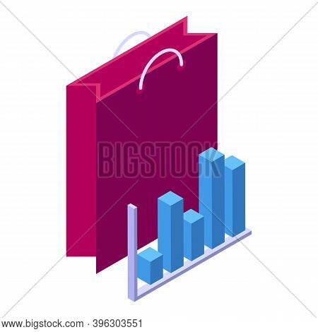 Bag Online Shopping Icon. Isometric Of Bag Online Shopping Vector Icon For Web Design Isolated On Wh
