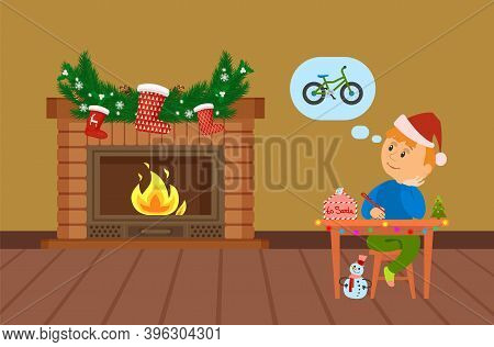 Boy Sitting At Table Decorated Garland And Christmas Tree Writing Letter To Santa About Bicycle. Chi