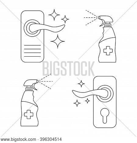 Door Knob Disinfection. Door Handles And Antibacterial Spray Isolated Vector Illustration. Sanitatio