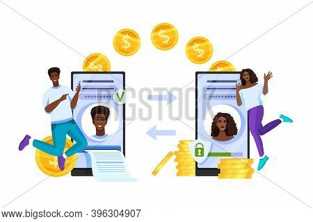 Secure Money Transfer Or Mobile Payment Vector Concept With Smartphones, Coins, Dollars,cheerful Peo