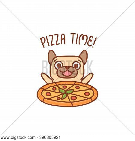 Happy Smiling Character Pug Dog With Pizza Margarita. Inscription: Pizza Time! It Can Be Used For Me