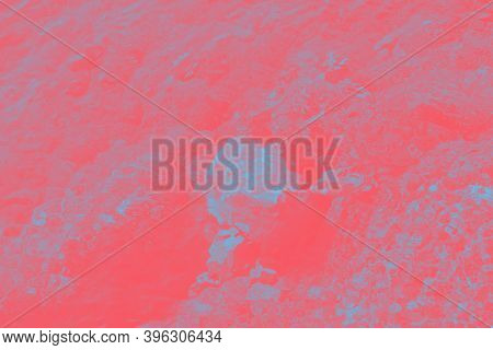 Red Coral Turquoise Patchy Abstract Blurred Background With Water Glare Pattern