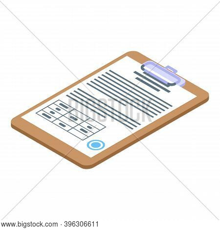 Auction Clipboard Icon. Isometric Of Auction Clipboard Vector Icon For Web Design Isolated On White