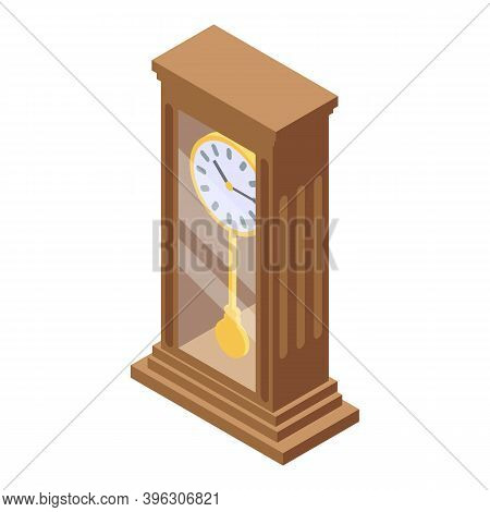 Old Clock Auction Icon. Isometric Of Old Clock Auction Vector Icon For Web Design Isolated On White