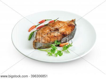King Mackerel Or Spotted Mackerels Steak With Dish Isolated On White Background ,fried Scomberomorus