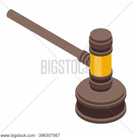 Auction Gavel Icon. Isometric Of Auction Gavel Vector Icon For Web Design Isolated On White Backgrou