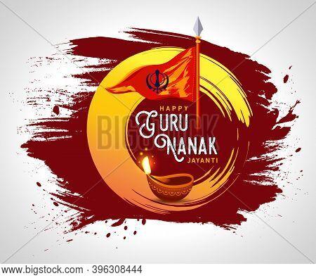Happy Gurpurab, Guru Nanak Jayanti, Festival Of Punjabi Sikh Religion, Vector Background