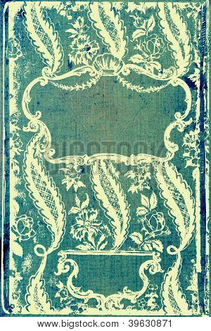 Elegant Vintage Border Frame: Abstract Textured Denim-like Background With Blue And Yellow Patterns