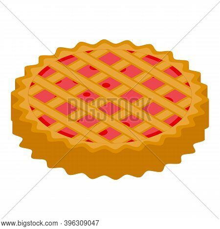 Apple Pie Dessert Icon. Isometric Of Apple Pie Dessert Vector Icon For Web Design Isolated On White