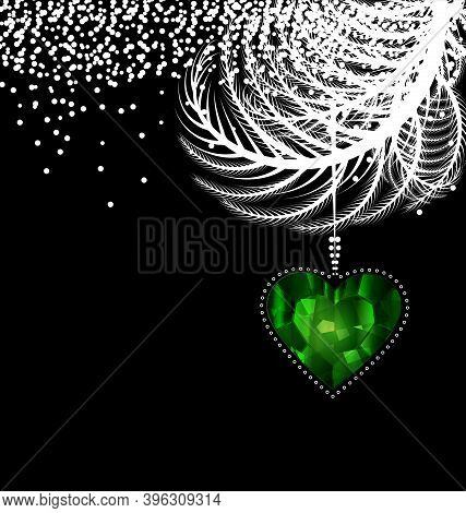 Vector Black White Christmas With Green Crystal Heart