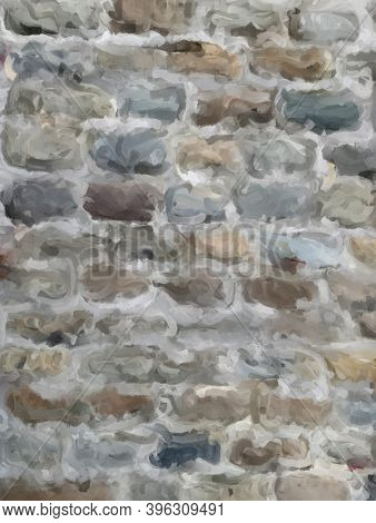 Digital painting of old brickwork in natural and neutral tones. Suitable for use as an overlay or as an abstract background for the addition of text.