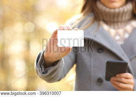 Close Up Front View Of Woman Hands Holding Smart Phone And Showing Blank Credit Card Mock Up In Fall