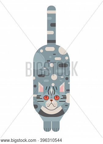 Blue Persian Cat Geometric Illustration In Flat
