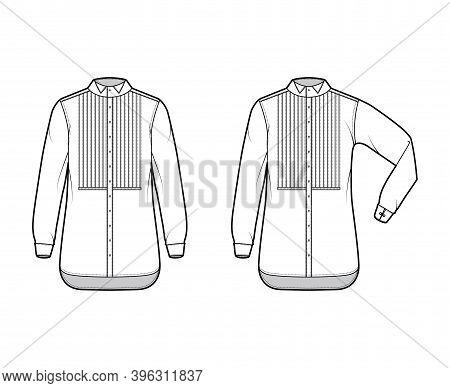 Set Of Shirt Tuxedo Dress Technical Fashion Illustration With Pleated Pintucked Bib, Elbow Fold Long