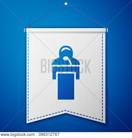 Blue Gives Lecture Icon Isolated On Blue Background. Stand Near Podium. Speak Into Microphone. The S