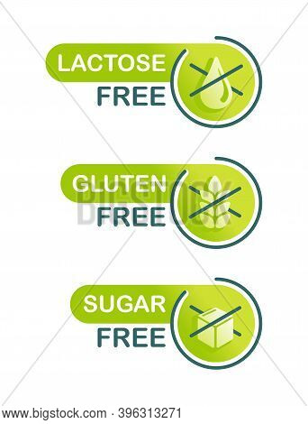 Sugar Free, Gluten Free, Lactose Free Set Of Products Composition  Badges - Food Cover Decoration El
