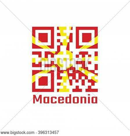 Qr Code Set The Color Of Macedonia Flag. Yellow Sun On A Red Field, With Eight Broadening Rays Exten