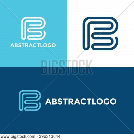 B Letter Blue Logo Design, Unique Creative B Font Template, Modern Geometric Alphabet B Icon Monogra