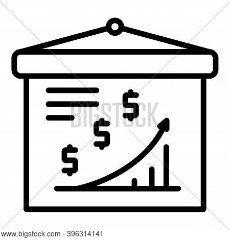 Grow Up Finance Report Banner Icon. Outline Grow Up Finance Report Banner Vector Icon For Web Design