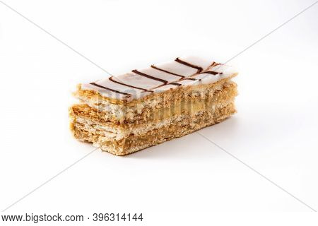 Millefoglie Or French Mille-feuille Dessert Isolated On White Background