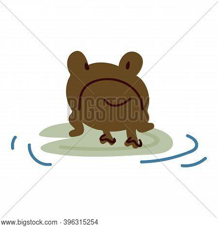 Cute Cartoon Frog On Pond Lily Pad Lineart Vector Illustration. Simple Amphibian Sticker Clipart. Ki